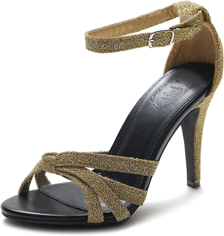 Ollio Women's shoes High Heel Glitter Ankle Strap Sandal