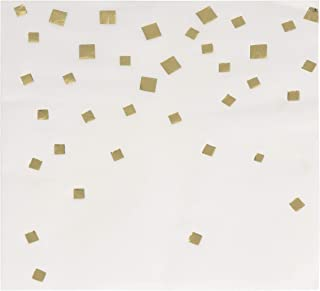 Cocktail Napkins - 50-Pack Gold Foil Confetti Squares Disposable Paper Napkins, 3-Ply, Birthday, Bridal Shower Party Decoration Supplies, Folded 5 x 5 Inches