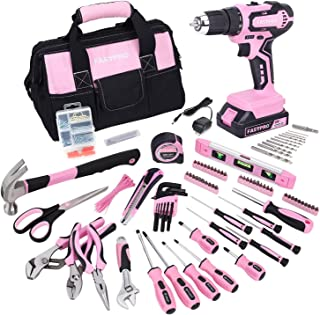 FASTPRO 232-Piece 20V Pink Cordless Lithium-ion Drill Driver and Home Tool Set, Lady's Home...