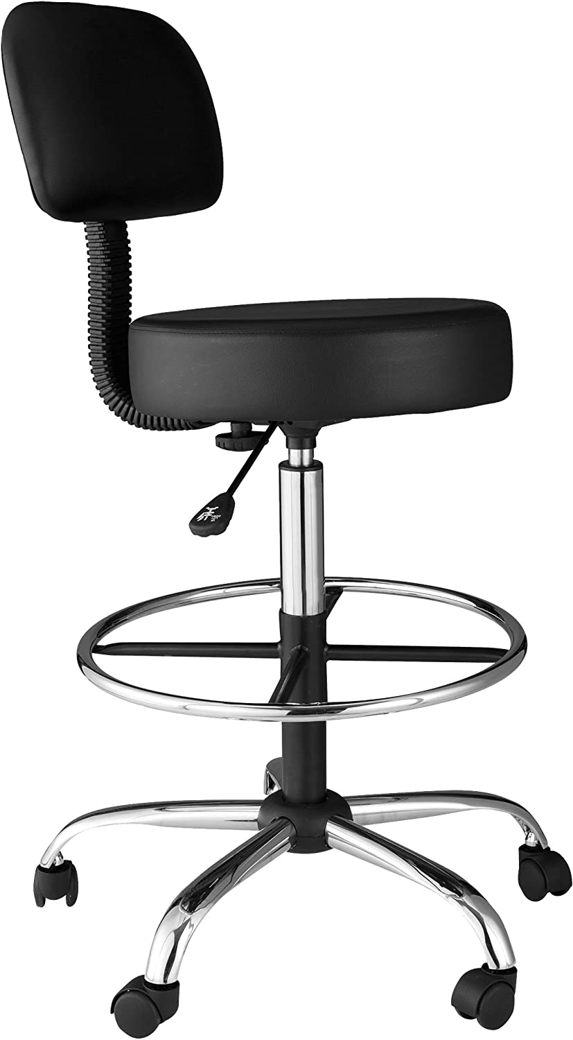 OneSpace 60-1018 Medical Drafting Stool with Back Cushion, Black