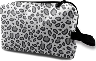 Leopard Print Safari Animals Design Grey Travel Makeup Cute Cosmetic Case Organizer Portable Storage Bag for Women