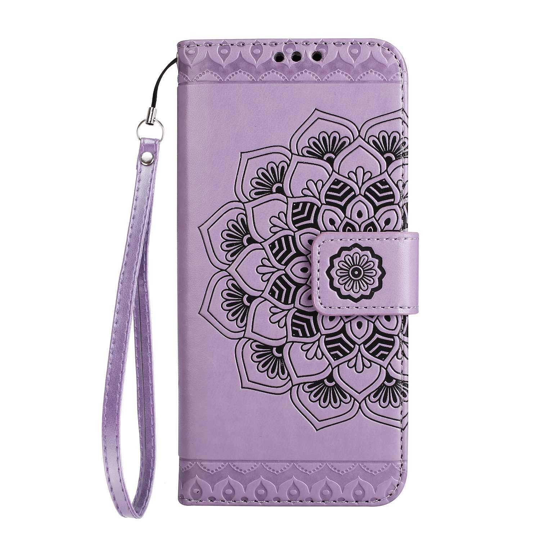 LG G6 手帳型ケース CUSKING PUレザー手帳 カバー 軽量 便利 カード収納付き スタンド機能付き マグネット保護カバー -パープル