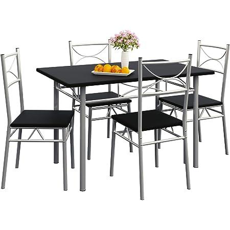 Casaria Set Tavolo E 4 Sedie Da Soggiorno Nero 5 Pz Arredamento Salone Cucina Sala Da Pranzo Mobili Per Cucina Moderno Amazon It Casa E Cucina
