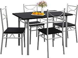 CASARIA Ensemble 5 pièces Paul Noir 1 Table 4 chaises MDF métal laqué Cuisine Ensemble Table et chaises pour Salle à Manger