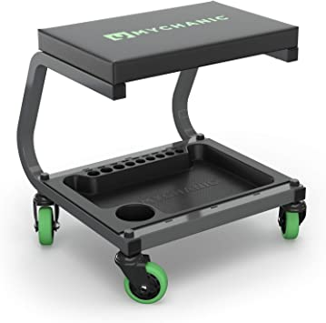 MYCHANIC Fastback Shop Stool - Rolling Garage Stool - 350 Lb Capacity - 3-Inch Casters - Tool Tray with Socket Organizer - Padded Seat - Powder Coated Steel Frame: image