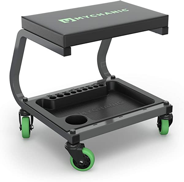 MYCHANIC Fastback Shop Stool Rolling Garage Stool 350 Lb Capacity 3 Inch Casters Tool Tray With Socket Organizer Padded Seat Powder Coated Steel Frame