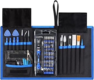 Syntus Electronic Repair Tool Kit with Magnetic Driver Kit, 80 in 1 Professional Precision Screwdriver Set with Portable Pouch for iPhone, iPad, MacBook, Gaming Console, Controller, Black and Blue