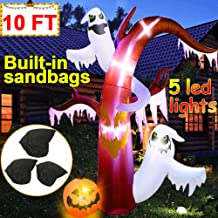 10 Ft Halloween Yard Inflatable Decorations, Light Up Inflatable Spooky Ghost with 5 LED Lights Pumpkin Halloween Blow Up Decorations for Yard Lawn Garden Halloween Party Decor (4 Stakes 2 Tethers)