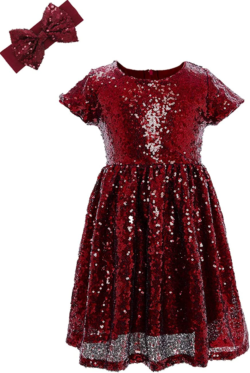 ANATA Girls Sequin Dress Party Solid Toddler Baby Princess Dresses Little Girls Short Sleeve Wedding Gown with Headband