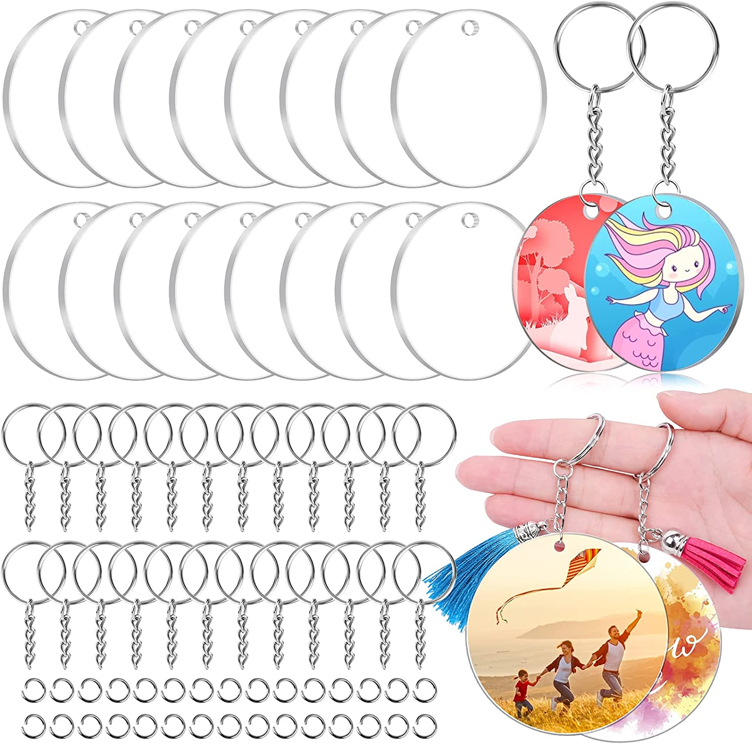 3 Inch 90 2021new shipping free Pcs Acrylic Keychain New Orleans Mall Bulk Clear Cludoo - Blanks 30