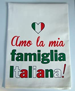 Italian Family tea towel Handmade kitchen floursack towel