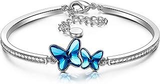 Susan Y Pulsera de Mujer, Sueño de Mariposa Mujer Joyería, Cristales de Swarovski, Caja de Regalo Elegante, Joyería para E...