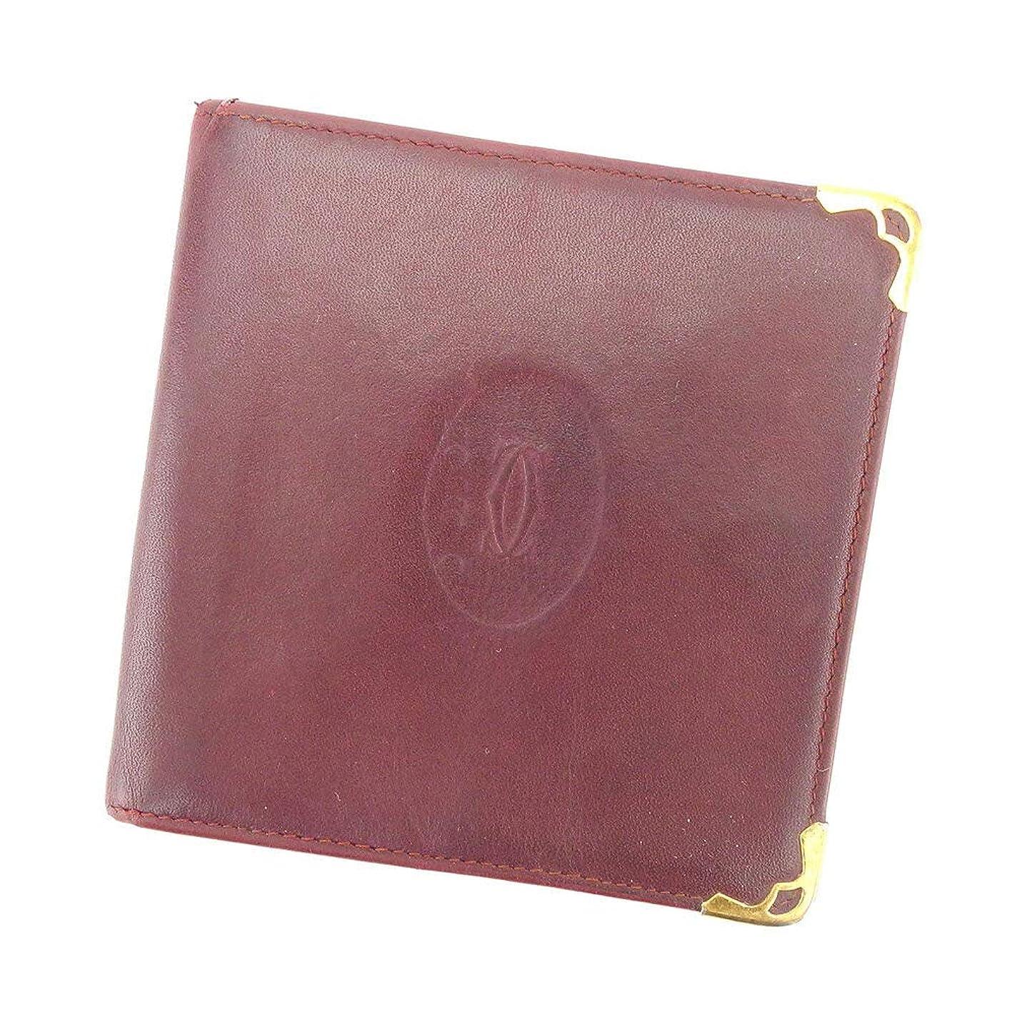 半導体テンション何でも(カルティエ) Cartier 二つ折り 財布 ボルドー マストライン レディース メンズ 中古 T8388