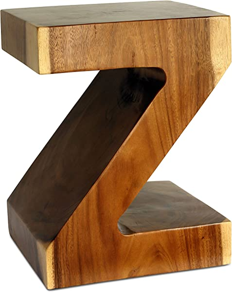 G6 COLLECTION Wooden Hand Carved Modern Z Model End Table Solid Wood 13 5 X 12 X 18 Inch Rustic Handmade Night Stand Accent Display Side Table Home Decor Z Model Stool