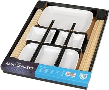 Preisvergleich für GRÄWE Sushi-Set für 2 Personen, 10-teilig - Bambus-Rollmatten, Asia-Geschirr und Essstäbchen