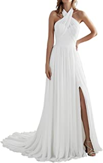 Women's Beach A Line Slit Low Back Long Chiffon Wedding Dress Bridal Gown for Bride