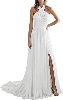 Zhongde Women's Beach A Line Slit Low Back Long Chiffon Wedding Dress Bridal Gown for Bride