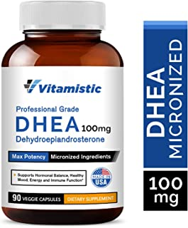 Vitamistic DHEA 100mg 90 Veggie Capsules, Micronized for High Absorption and Max Potency, Hormone Balance Formula, Non-GMO...