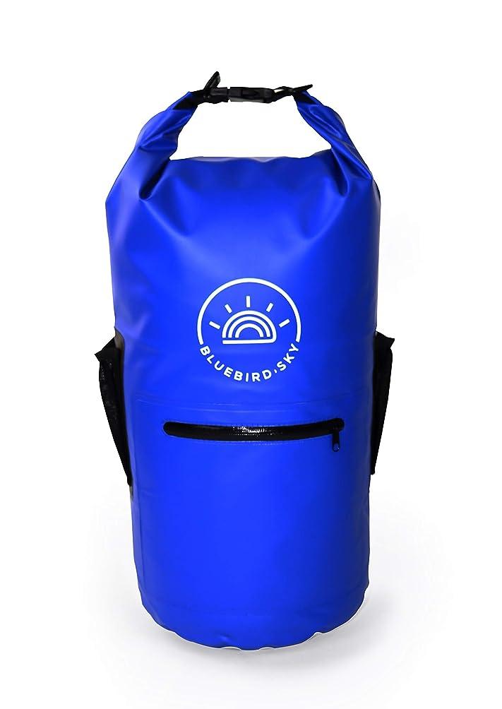 すでに着替える料理をするBLUEBIRD SKY - 防水ドライバッグバックパック - ロールトップドライサック 2つの調節可能なショルダーストラップと外側に防水ジッパーポケットと2つのメッシュポーチ付き カヤック ボート キャンプ ハイキング用