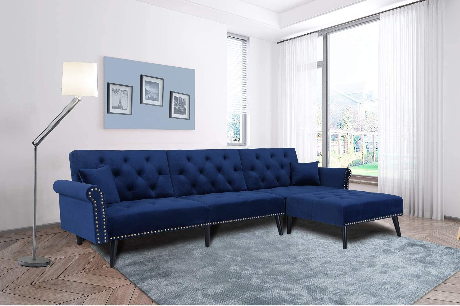 Navy Blue Velvet L Shape Sectional Couch Reversible Chaise Adjustable Back with 2 Pillows for Living Room Furniture FCNEHLM Convertible Sofa Bed Sleeper