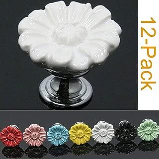 SunKni 12 Pack Ceramic Cabinet Knobs for Girl, Super Sturdy Flower Handles Pulls for Dresser Drawers Kitchen Cupboard Furniture Closet Door Prime Quality Floral Knob (Chrysanthemum, White)