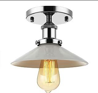 BAYCHEER Retro Vintage Plafón haenge lámpara 22 cm ancho 22 cm ancho haengelampe wohnzimmerlampen Cocina Pasillo de lámpara E27 para LED glühm Plata portalámparas Vidrio Blanco Lámpara de pantalla