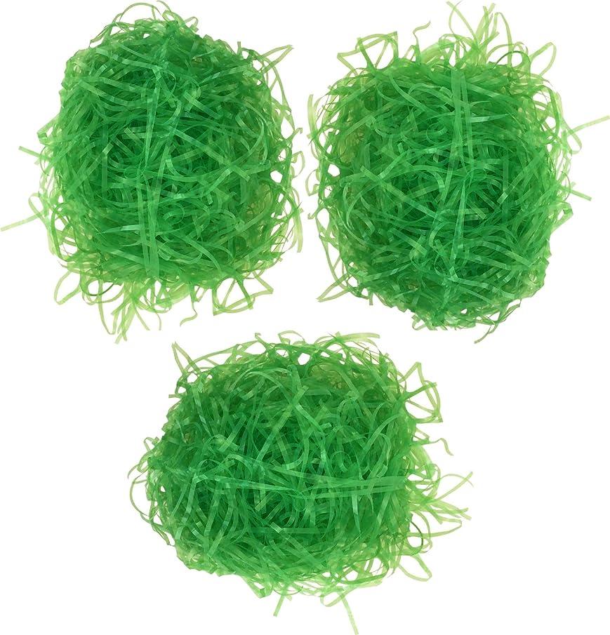 Family Holiday Easter Grass for Gift Filler Baskets Egg Stuffers, Green, 6 Ounces