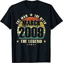 Vintage Born In March 2009 Man Myth Legend 11 Years Old T-Shirt