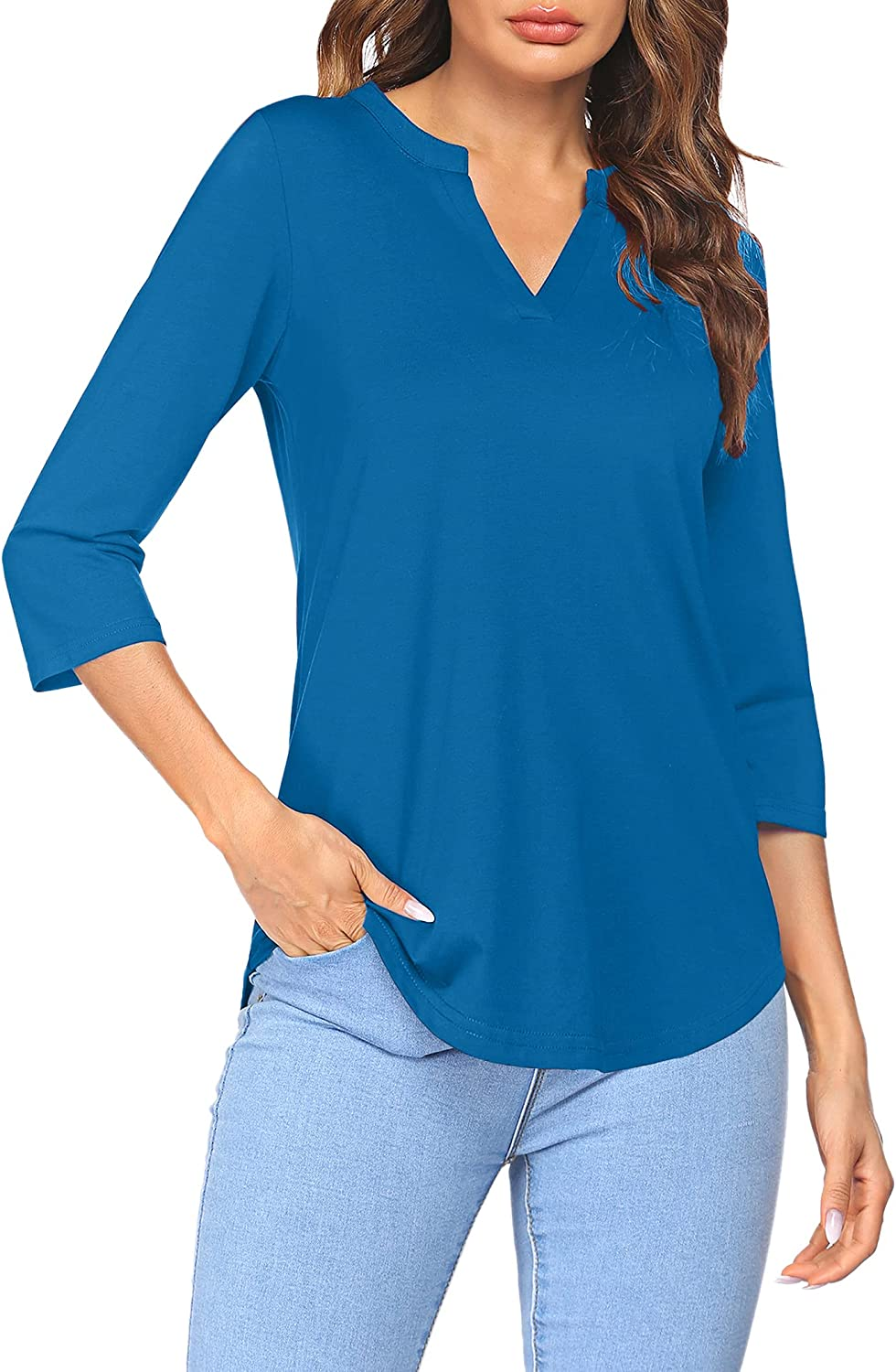 She Women's 3/4 Sleeve Shirts V Neck Casual Henley Work Tops Blouses
