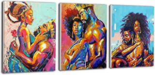 YA-DECOR 3 Panels Wall Art Canvas Print African American Lovers Couple Man Carrying Woman Art Paintings Framed Ready to Hang for Home Office Living Room Decor 16