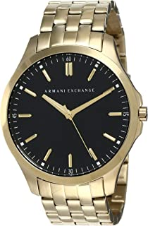 Men's 45mm Goldtone Watch with Black Dial