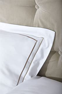 MAYFAIR WHITE GOLD CHOCOLATE TWIN THREAD EMBROIDERY OXFORD HOUSEWIFE PILLOWCASE