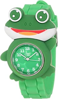 Frenzy Kids' FR2002 Frog Critter Face Green Band Children's Watch