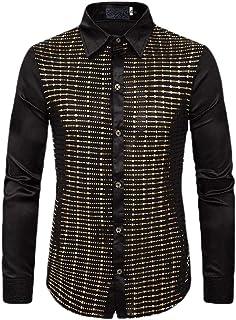 Keaac Mens Dress Shirt Fashion Slim Solid Shiny Regular Fit Long Sleeve Tops