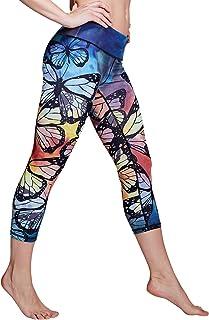 Matymats High Waist Yoga Pants Women's Tummy Control Printed Yoga Leggings with Pockets