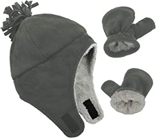 Baby Boy Sherpa Lined Warm Fleece Pilot Hat Infant Toddler Winter Hat Mitten Set
