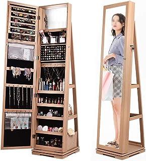 Armoire à Bijoux avec Miroir Organisateur Bijoux Cabinet De Bijoux Rotatif À 360 ° Avec Miroir Pleine Longueur Debout Debo...