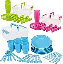 Invero® 93 Piezas Reutilizable plástico Picnic Camping Party Set – Incluye Platos, cucharas, Cuchillos, Folks, Tazas y contenedor de Almacenamiento para Todos