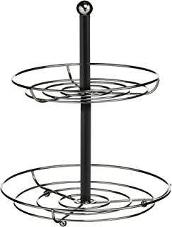 Premier Housewares Présentoir 2 étages Noir/chrome Diamètre 27 cm/Hauteur 33 cm