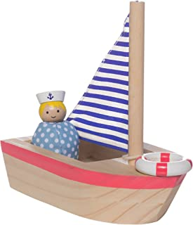 MiO Sailboat + 1 Bean Bag Sailor Peg Doll Imaginative Montessori Style STEM Learning Wooden Building Playset Accessory for Boys and Girls 3 Years + Up by Manhattan Toy