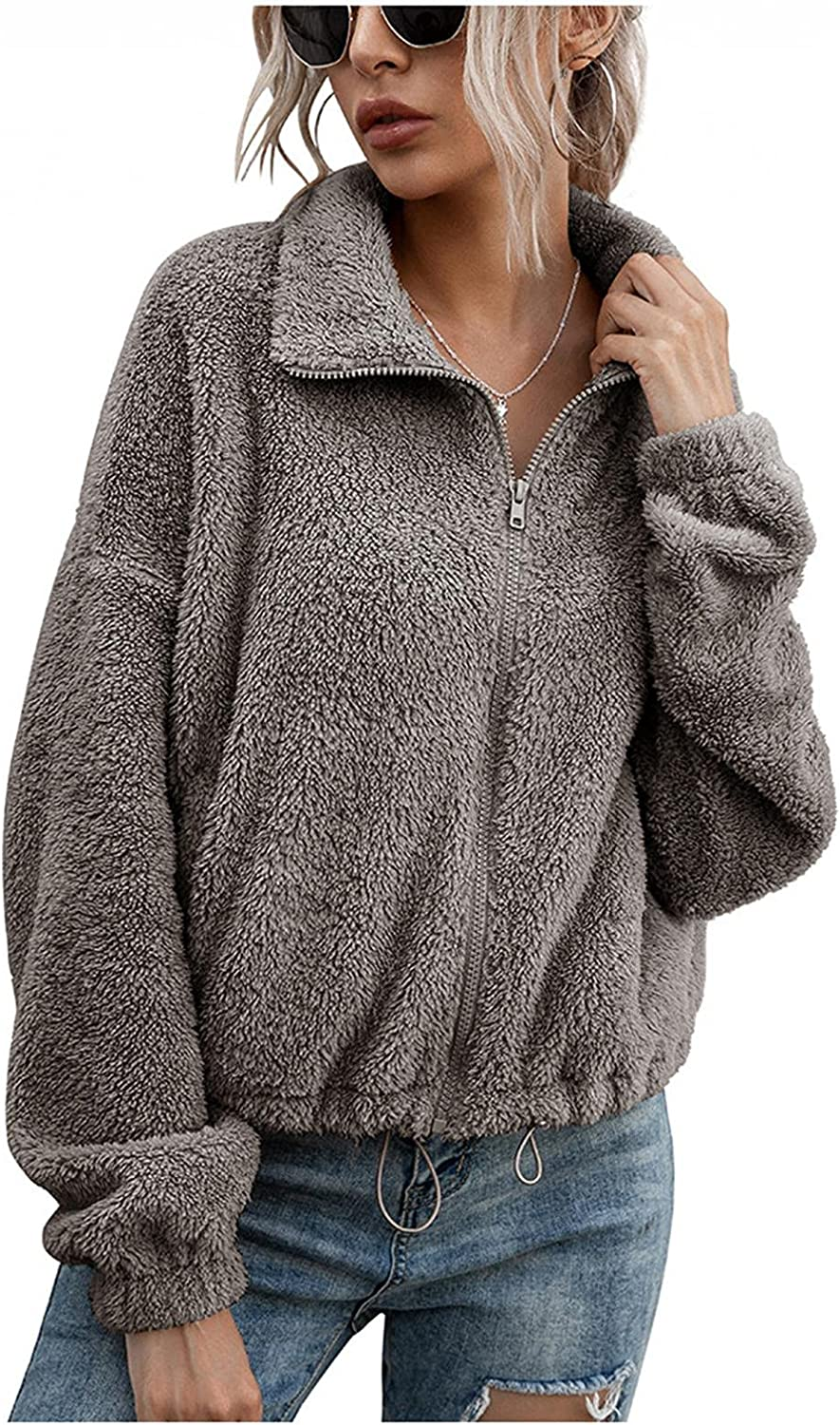 Womens Double-Sided Fleece Jacket Plush S Fashion Surprise price Ladies Max 85% OFF Blouse