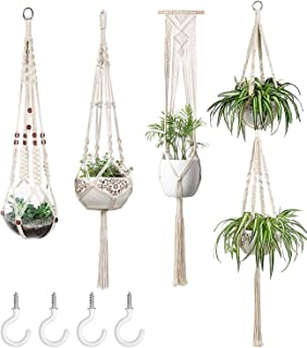 Mkono Macrame Plant Hangers Set of 4 Indoor Wall Hanging Planter Basket Decorative Flower..