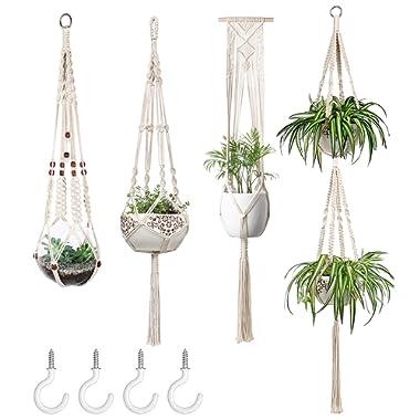 Mkono Macrame Plant Hangers Set of 4 Indoor Wall Hanging Planter Basket Decorative Flower Pot Holder with 4 Hooks for Indoor Outdoor Home Decor Gift Box, Medium