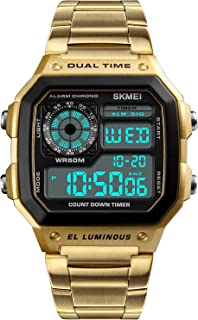 Men's Digital Multi-Function Watches Dual Time Alarm Stopwatch Countdown Backlight Waterproof Watch