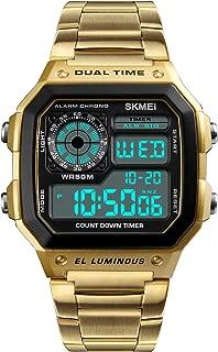 Men's Digital Multi-Function Watches Dual Time Alarm Stopwatch Countdown Backlight Waterproof Watch