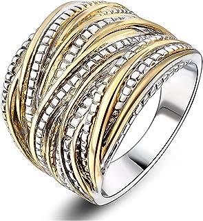 خاتم متشابك بلونين من اتش واي جيه جيه، خاتم عصري مكتنز للنساء والرجال