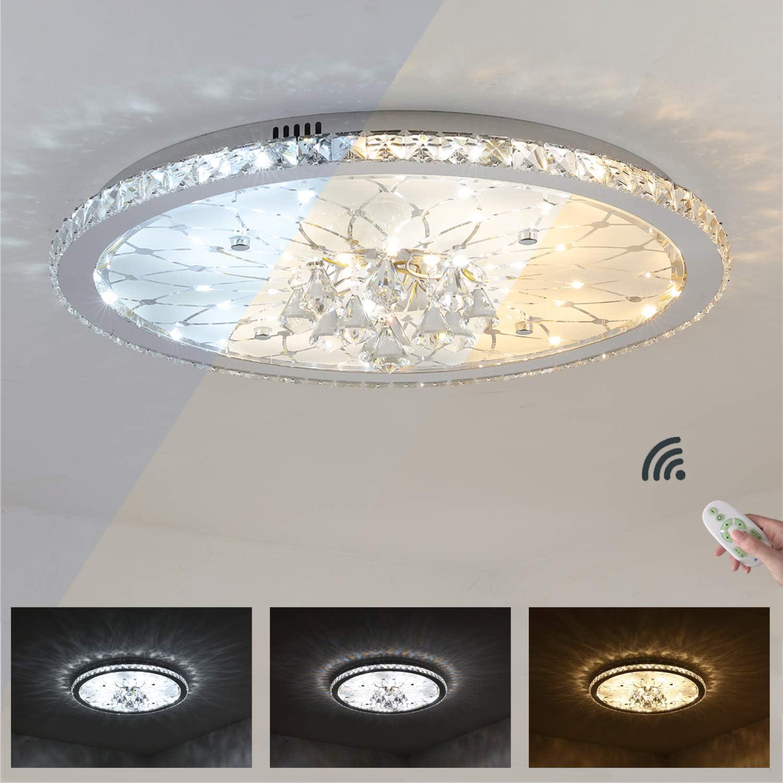 25W LED-Deckenleuchte Europische Runde Kristall Deckenlampe, Dimmbar mit Fernbedienung Deckenbeleuchtung, 230V, 1800 Lumen, 3000K-6000K,  43cm