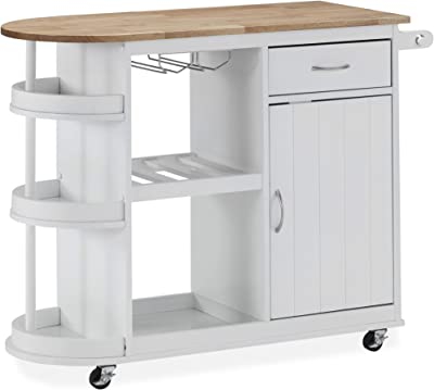 Christopher Knight Home Debby Kitchen Cart with Wheels, White, Natural