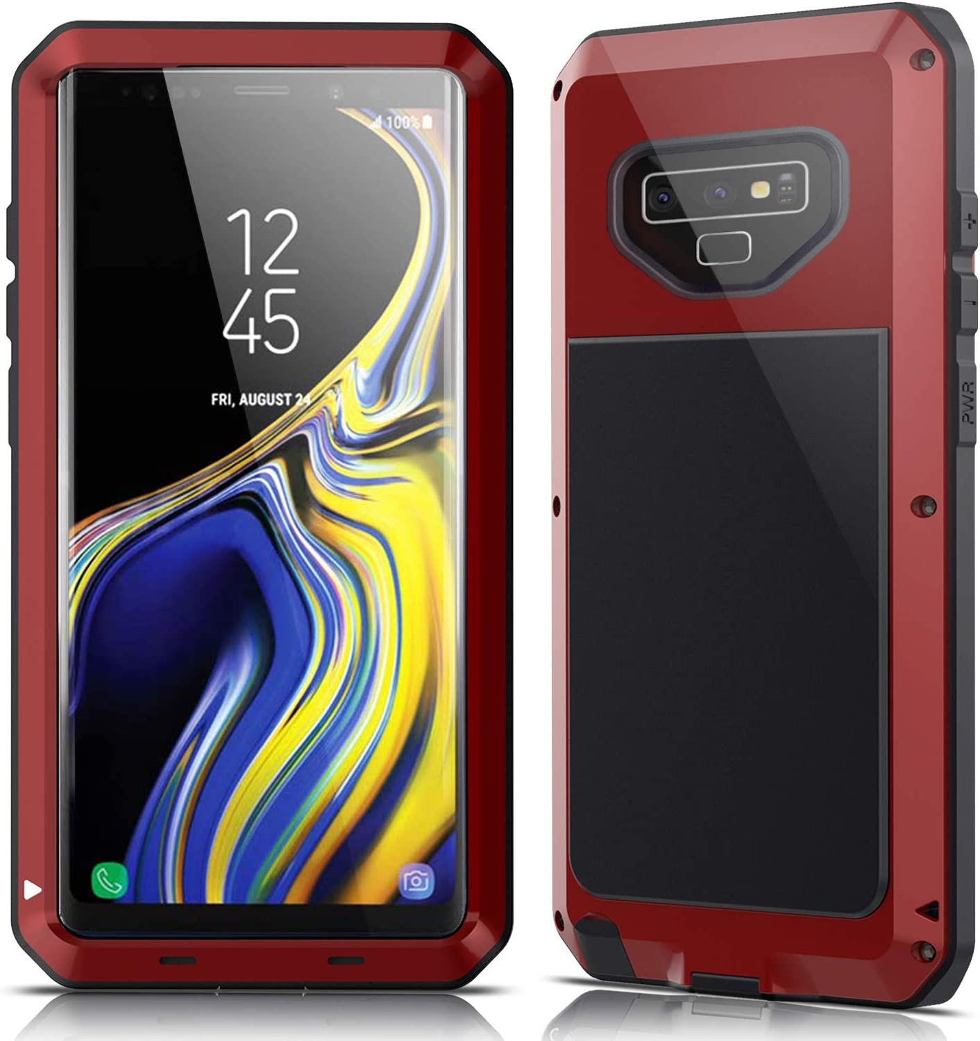 Galaxy Note 9 Case,Lilycase Armor Heavy Duty Hybrid Aluminum Metal Shockproof Military Shockproof Hard Cover for Samsung Galaxy Galaxy Note 9 Newest - Red