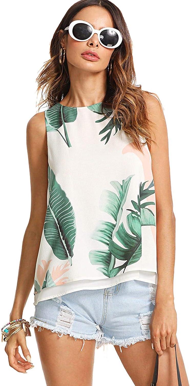 SheIn Women's Back Slit Leaf Print Summer Tank Top Casual Sleeveless Blouses